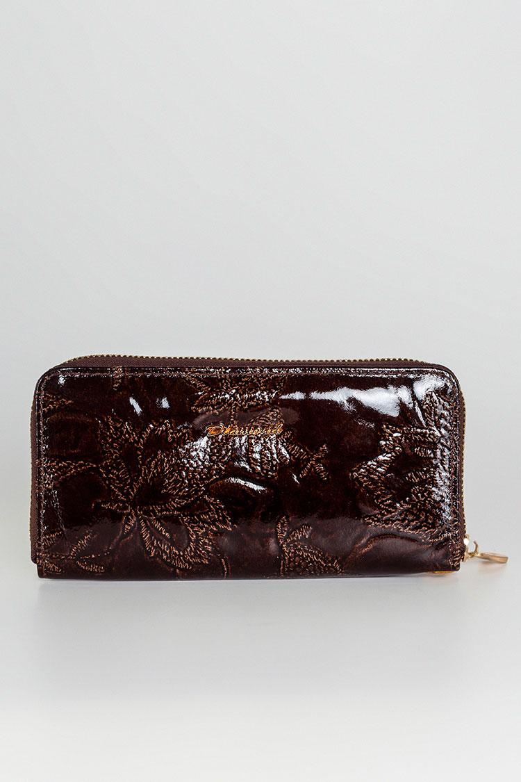 Гаманець жiночий з натуральної шкіри коричневий, модель 1-змейка