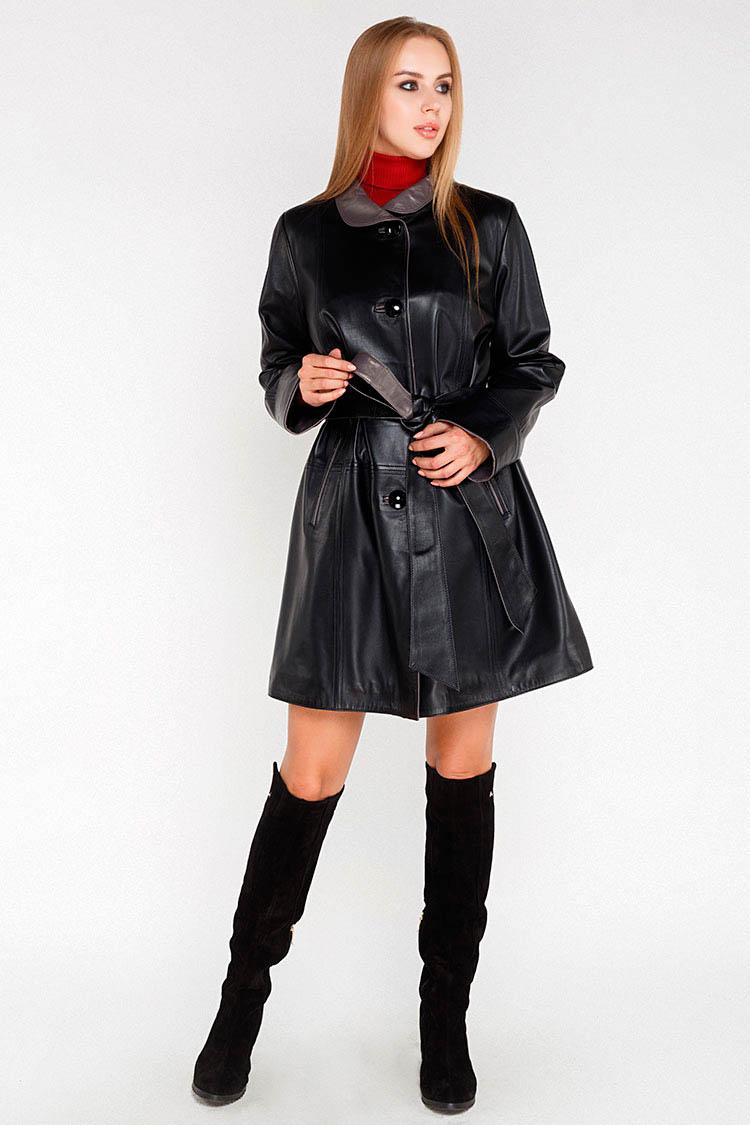 Куртка жiноча з натуральної шкіри чорна, модель ANGEL