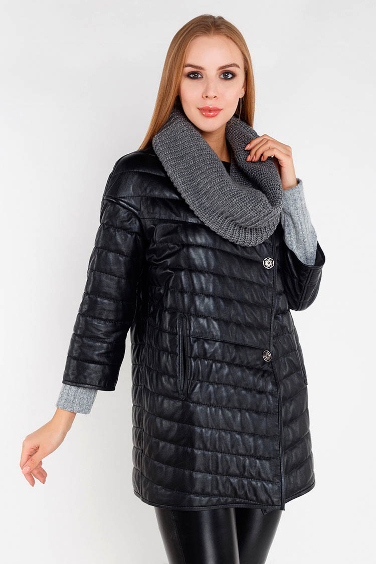 Куртка утеплена жiноча з натуральної шкіри чорна, модель 2091/двухст