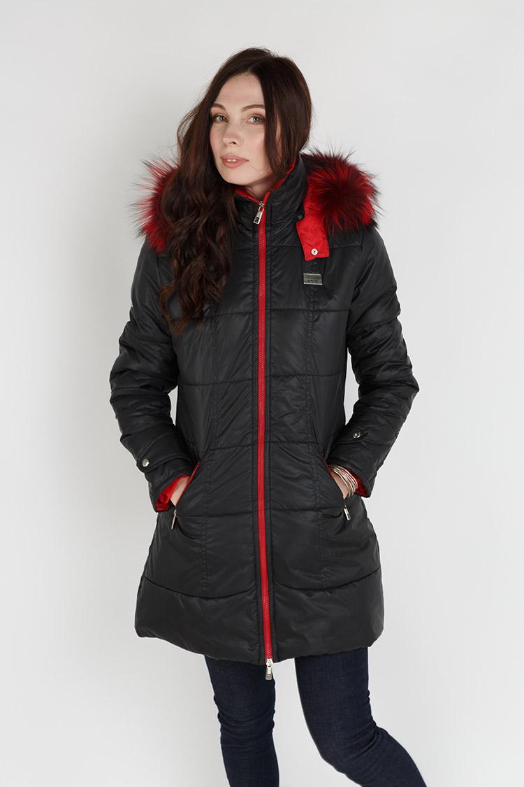 Куртка женская balon/чернобурка черная, модель X-012