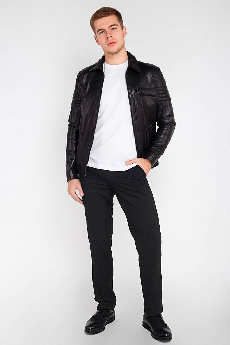Куртка мужская из натуральной кожи черная, модель GK-020