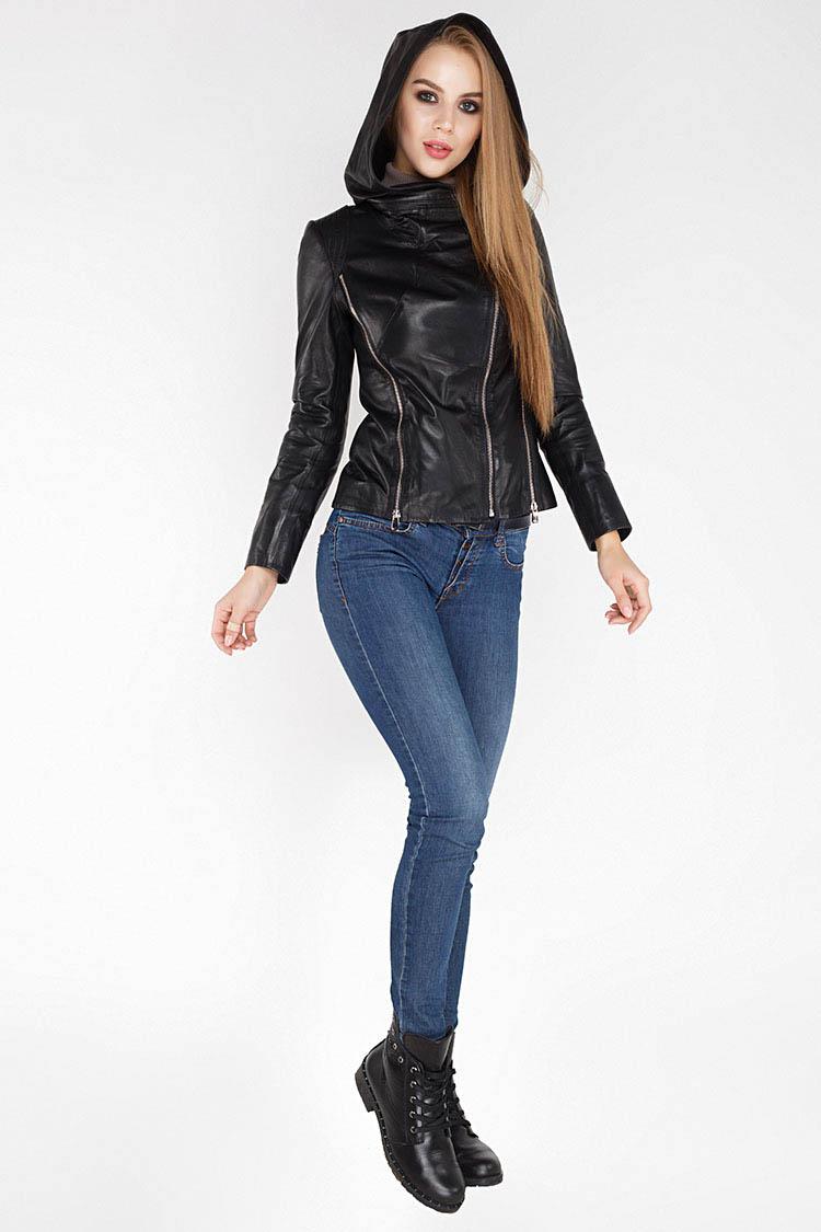 Куртка женская из натуральной кожи черная, модель B-1340