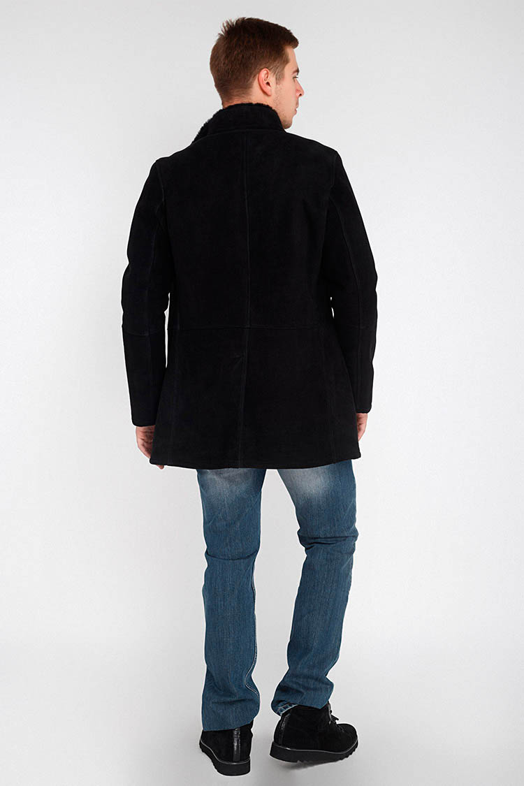 Дубленка мужская из натуральной овчины черная, модель 03