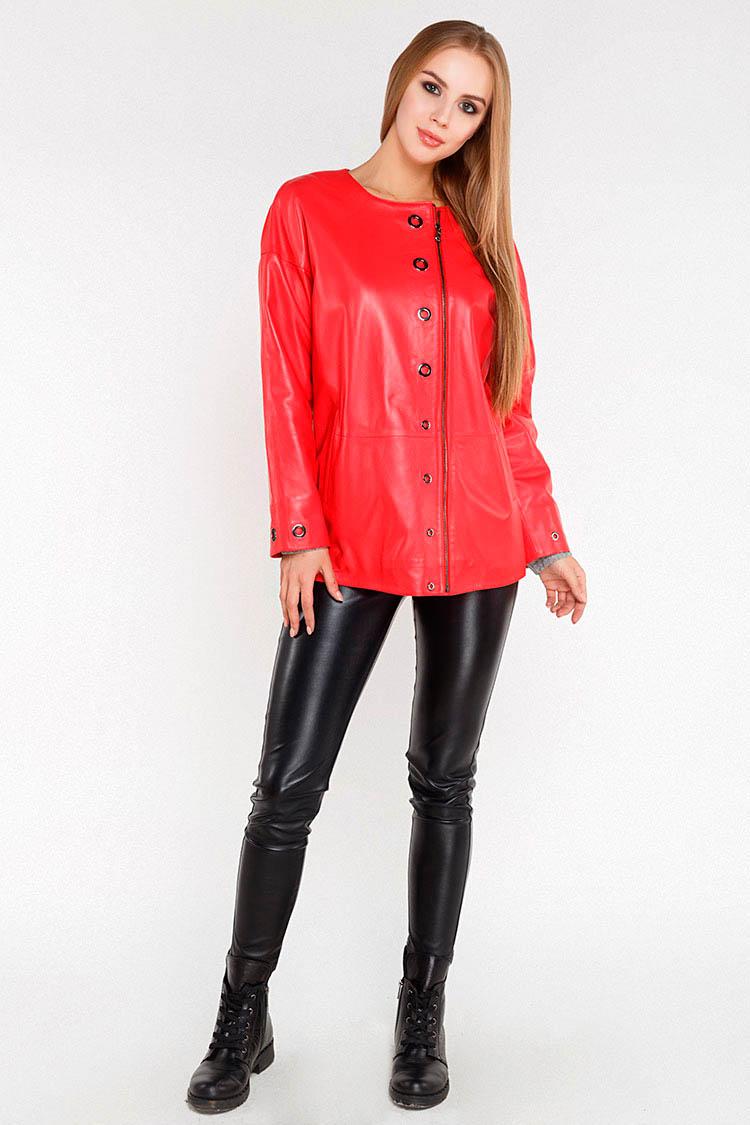 Куртка женская из натуральной кожи красная, модель 381-70