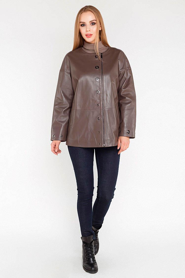 Куртка жiноча з натуральної шкіри коричнева, модель 381-70
