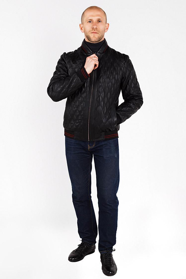 Куртка мужская из натуральной кожи черная, модель YNS-1