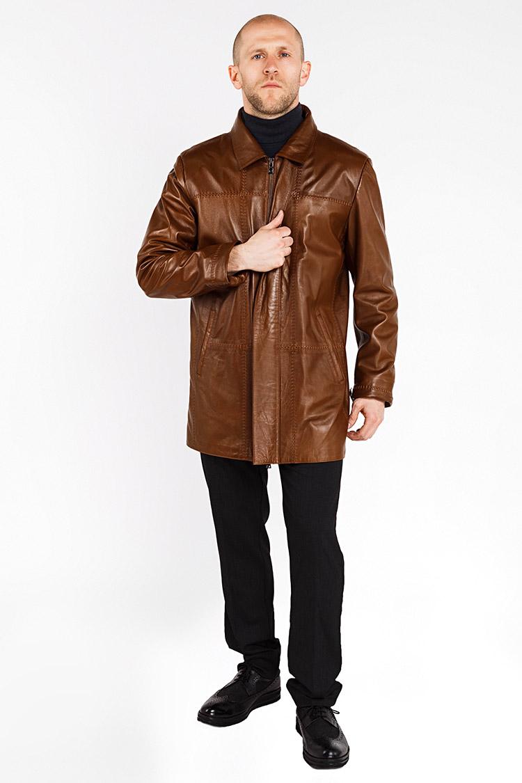 Куртка мужская из натуральной кожи коричневая, модель UNUS
