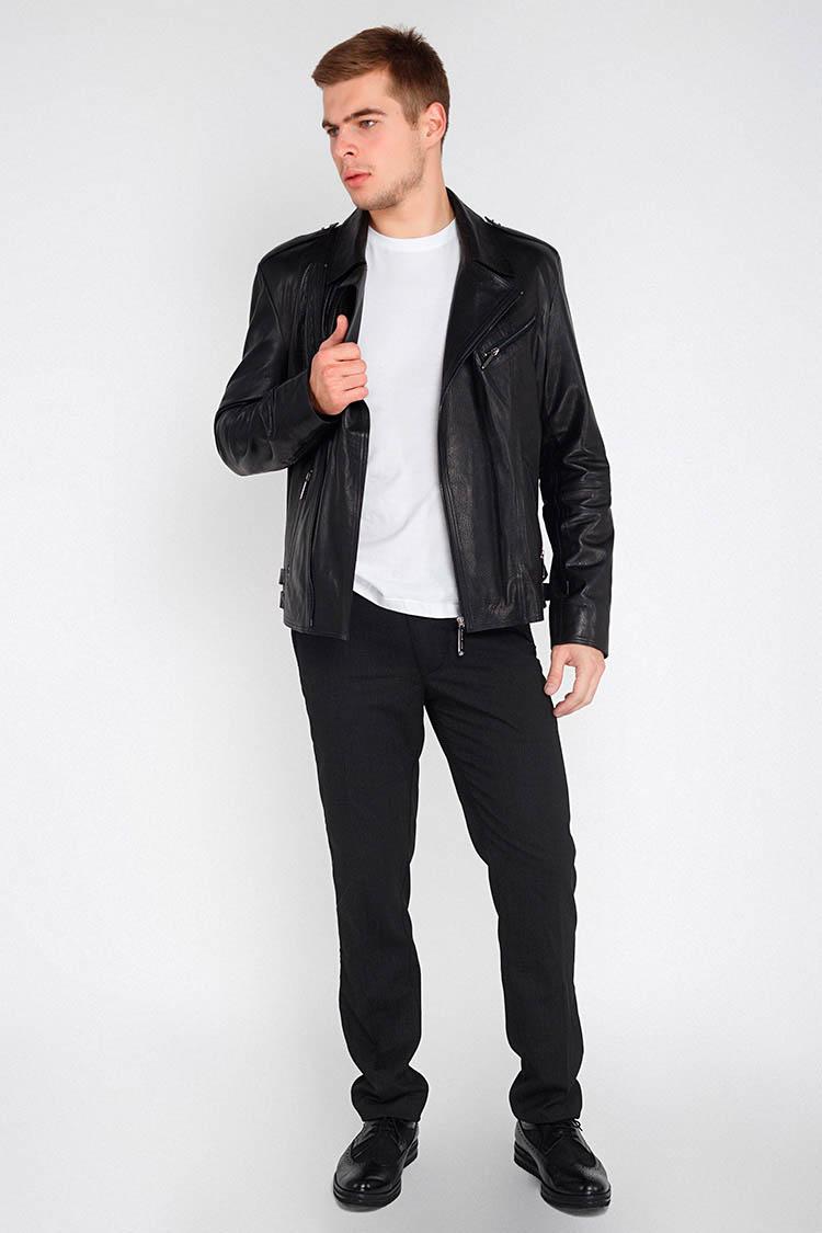 Куртка мужская из натуральной кожи черная, модель E-175