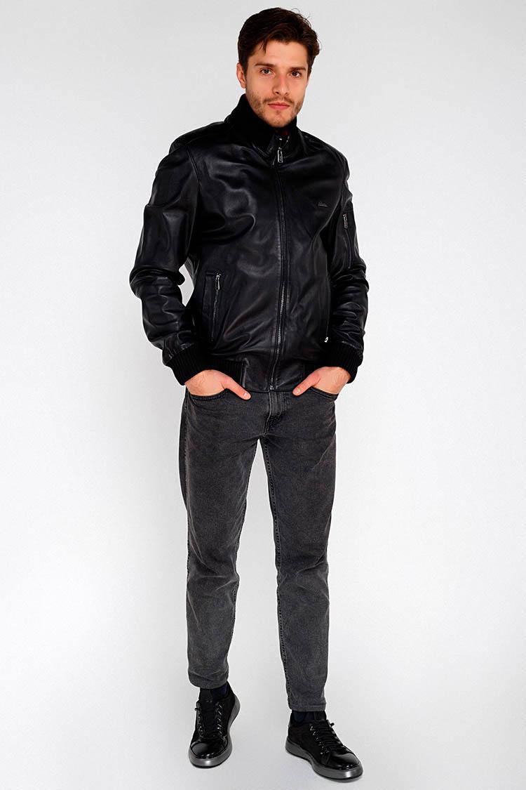 Куртка мужская из натуральной кожи черная, модель E-167