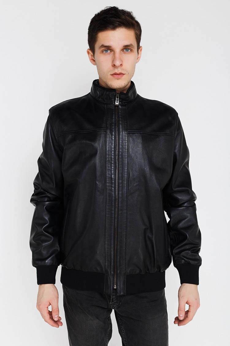 Куртка чоловіча з натуральної шкіри чорна, модель KOLEG