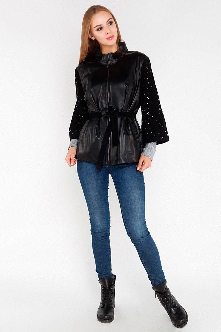Куртка женская из натуральной кожи черная, модель DC-412
