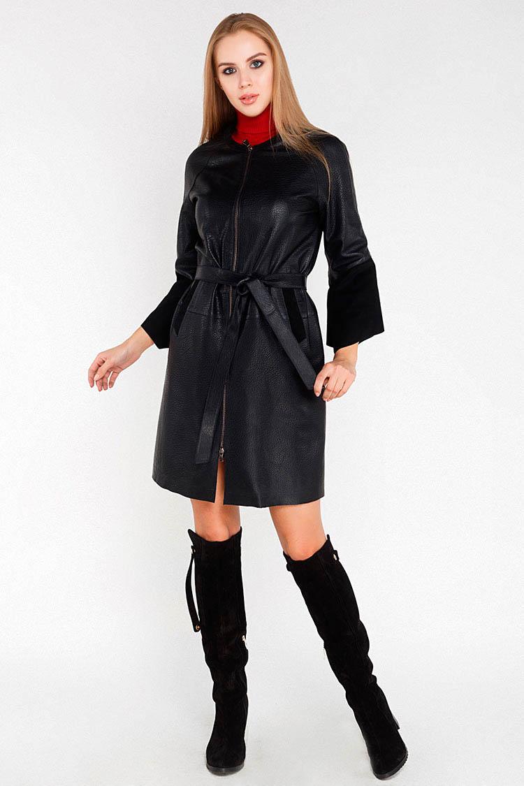 Куртка женская из натуральной кожи черная, модель DC-1648