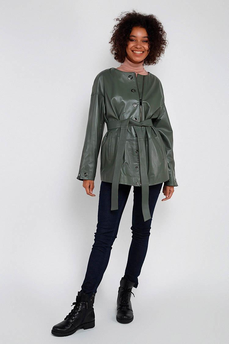 Куртка женская из натуральной кожи зеленая, модель 381-70