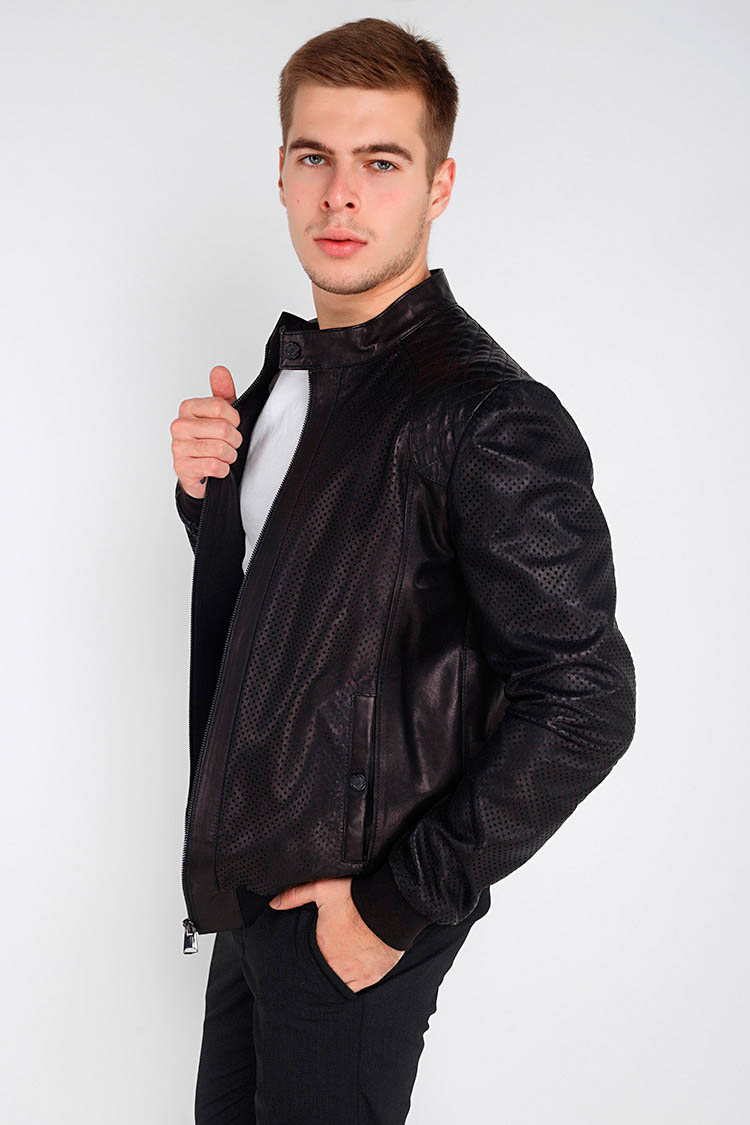 Куртка чоловіча з натуральної шкіри чорна, модель GK-2030/1