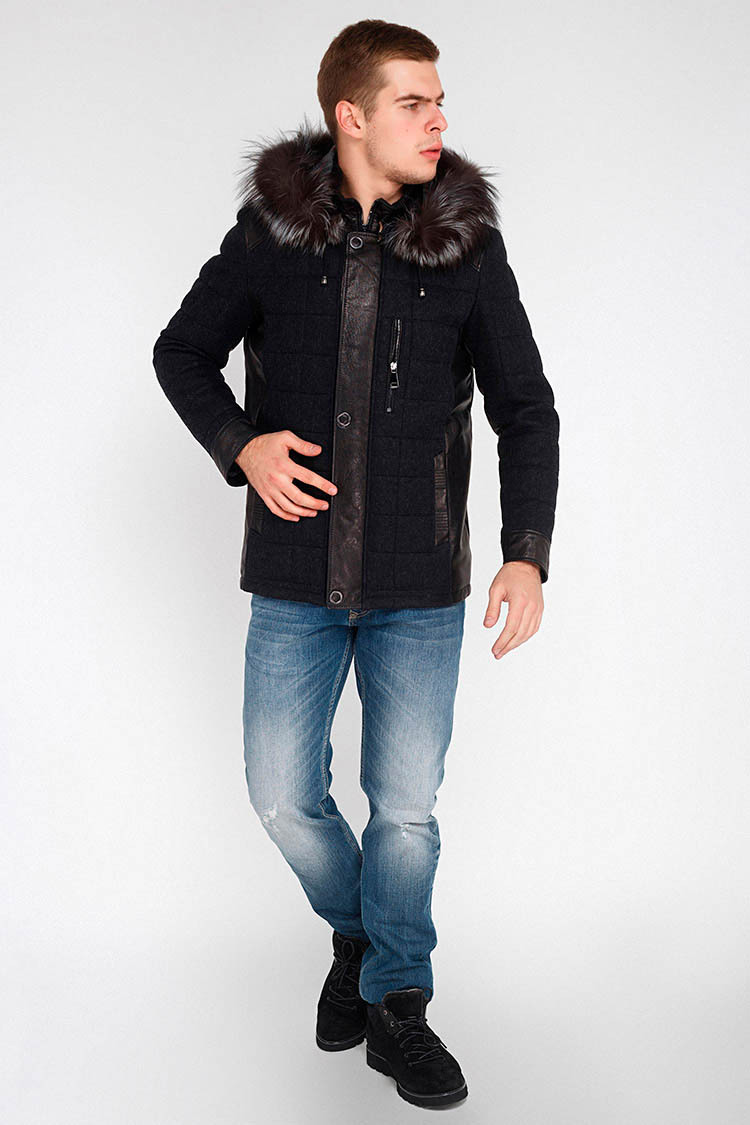 Куртка мужская из натуральной кожи черная, модель E-123