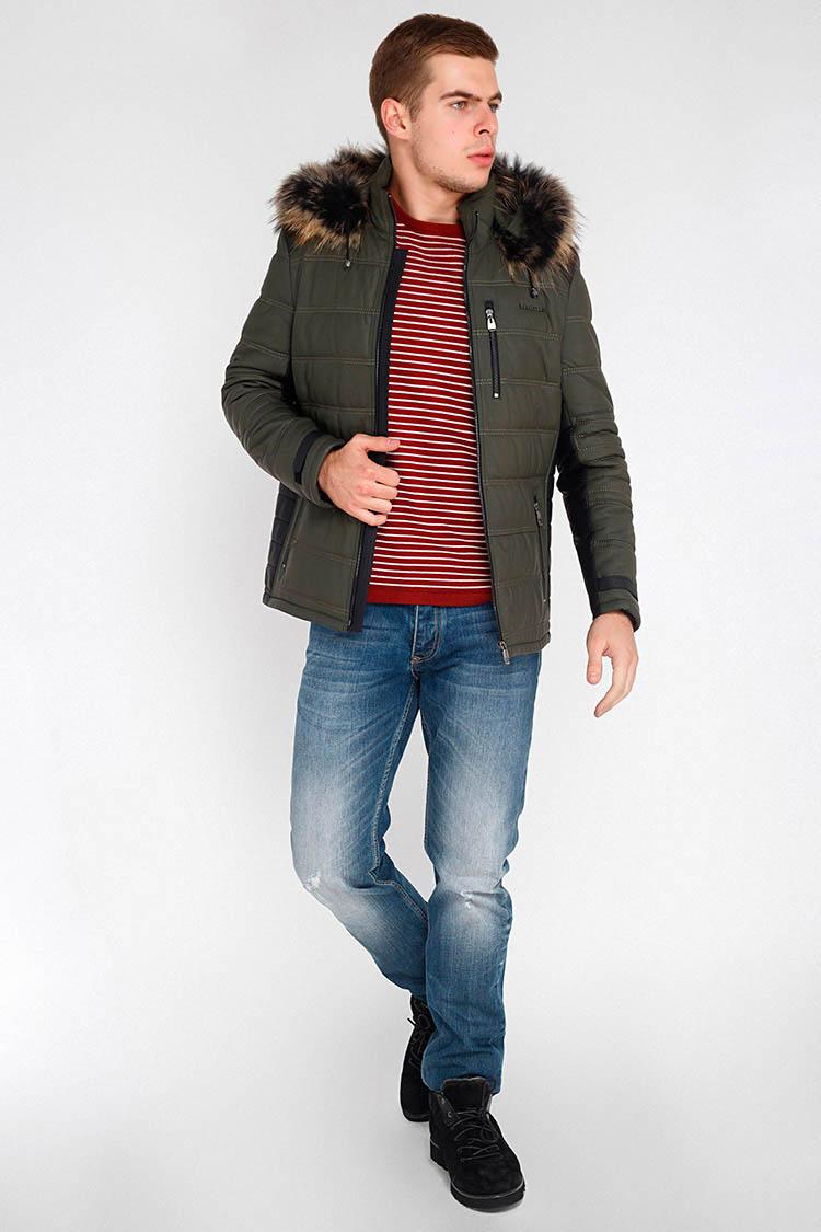 Куртка мужская из натуральной кожи зеленая, модель BT-601