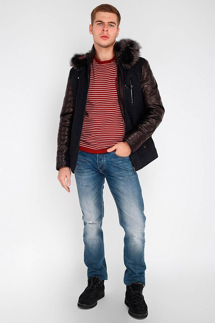 Куртка мужская из натуральной кожи черная, модель E-252