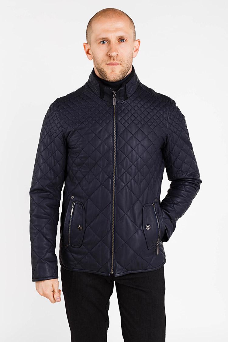 Куртка чоловіча з натуральної шкіри синя, модель E-122