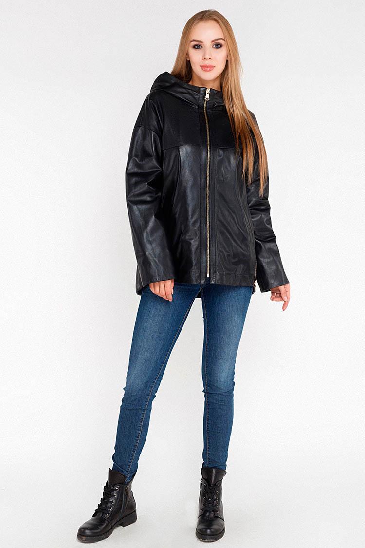 Куртка женская из натуральной кожи черная, модель DC-3001