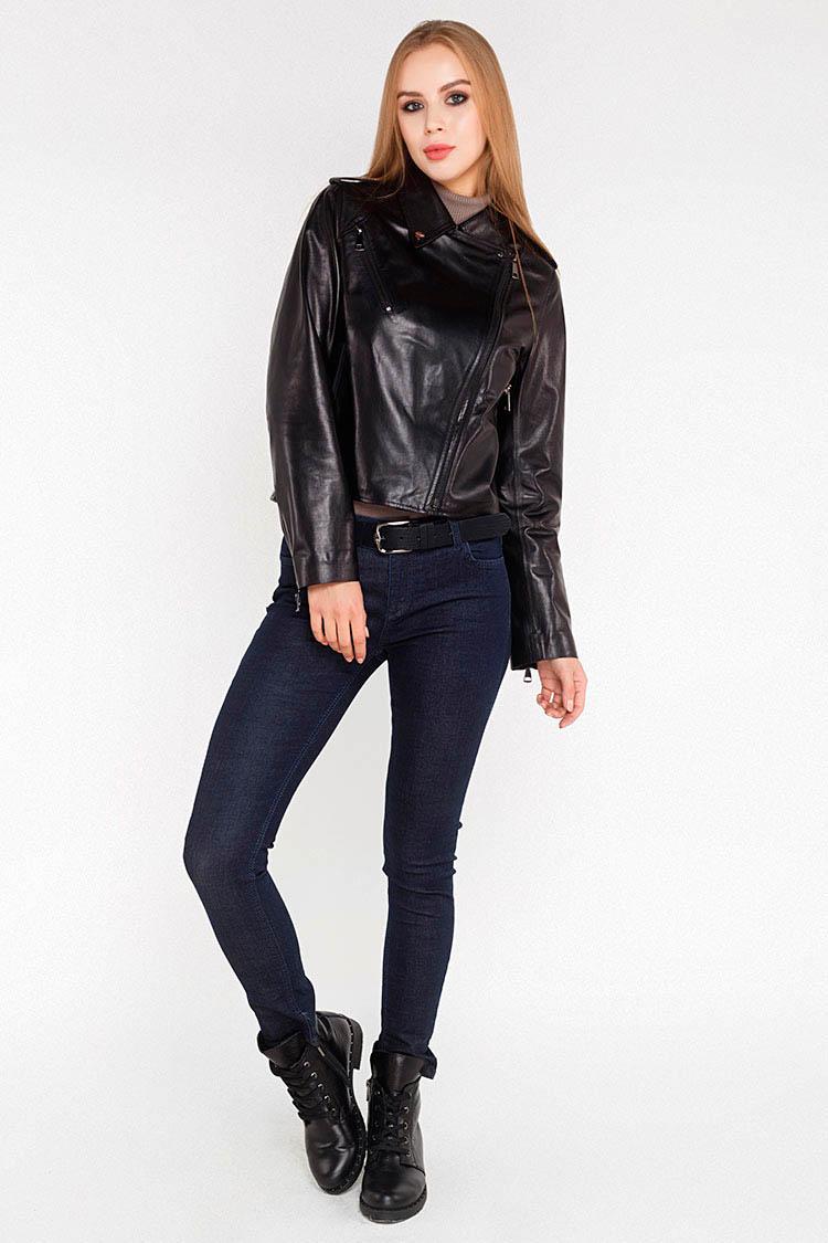 Куртка жiноча з натуральної шкіри чорна, модель 2715