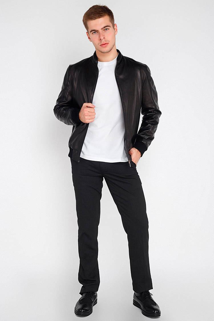 Куртка чоловіча з натуральної шкіри чорна, модель 018-87