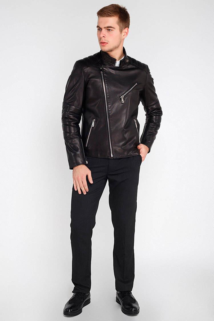Куртка чоловіча з натуральної шкіри чорна, модель K-1435