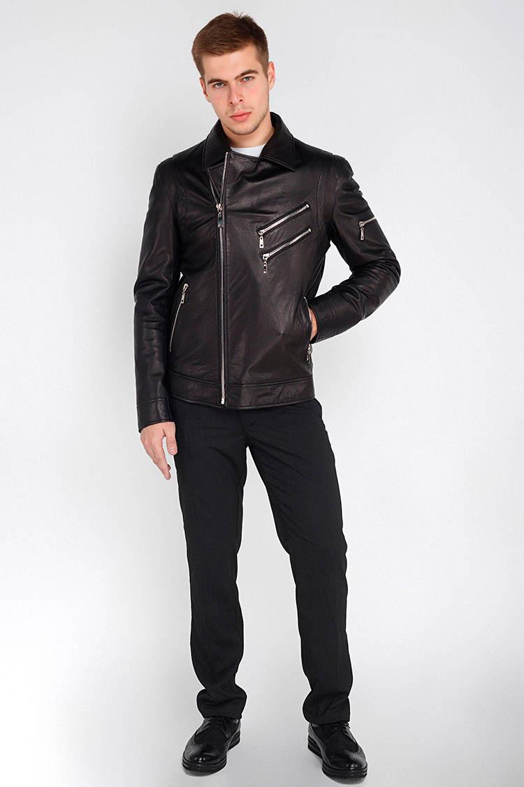 Куртка мужская из натуральной кожи черная, модель 1509