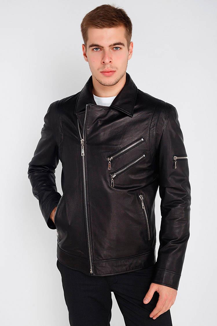 Куртка чоловіча з натуральної шкіри чорна, модель 1509