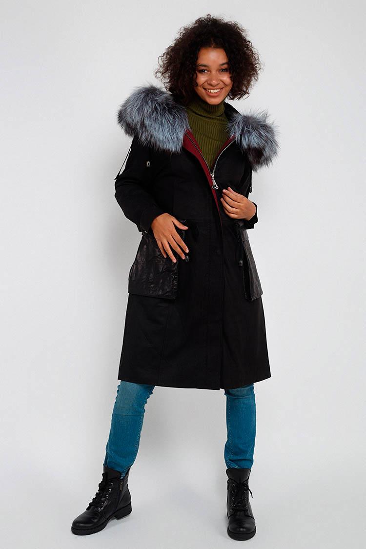 Куртка жiноча з натуральної шкіри чорна, модель A 1822/PARKA/KPS