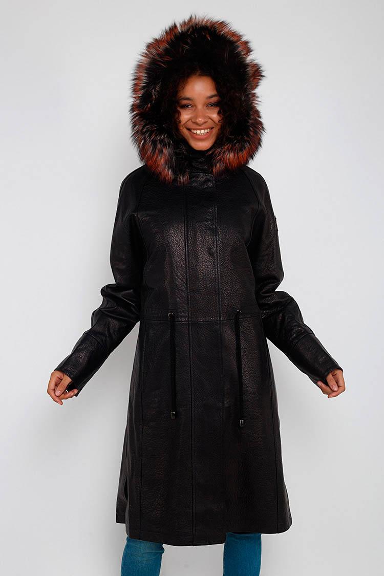 Куртка жiноча з натуральної шкіри чорна, модель A 1826/PARKA/KPS