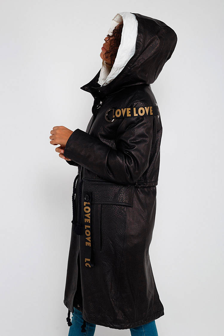 Куртка жiноча з натуральної шкіри чорна, модель A 1823/PARKA/KPS