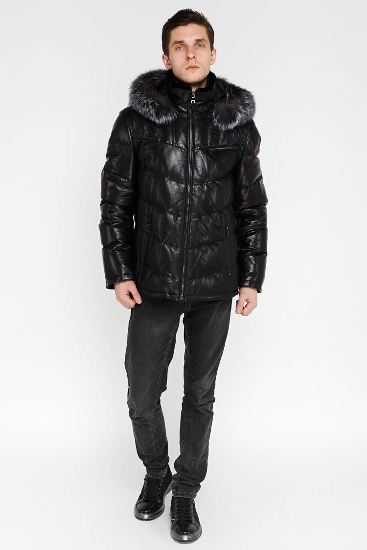 Куртка мужская из натуральной кожи черная, модель SF 16203