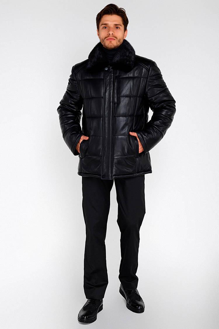 Куртка мужская из натуральной кожи черная, модель 13948