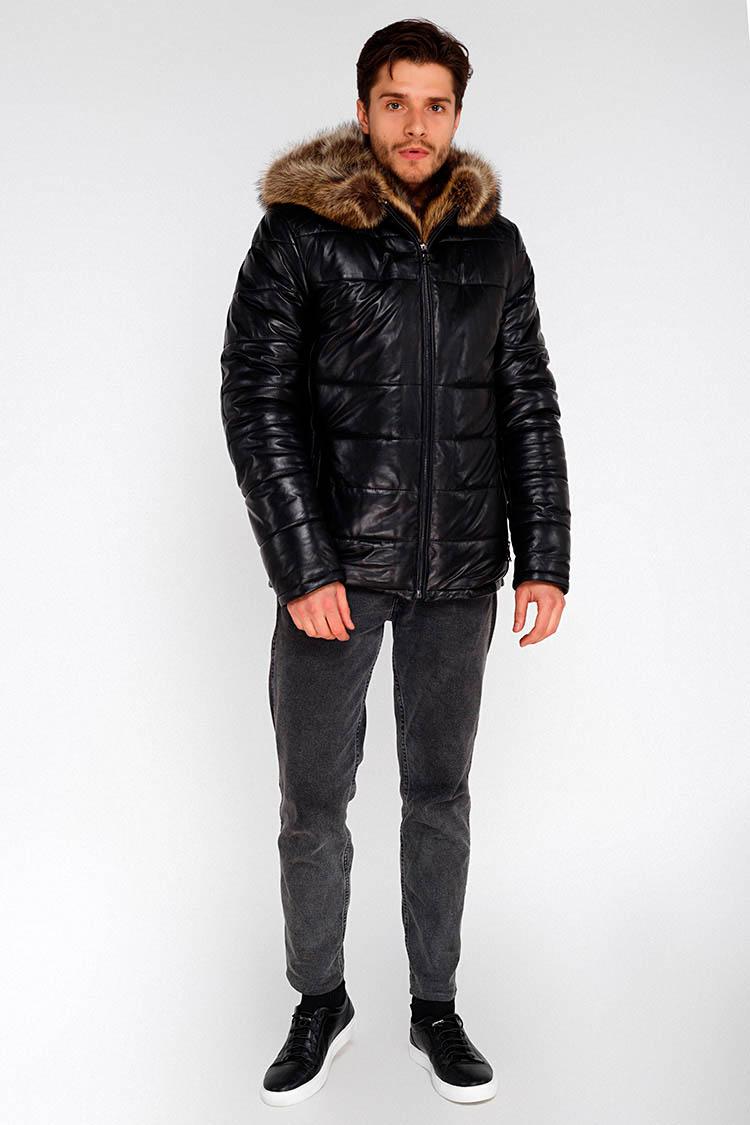 Куртка мужская из натуральной кожи черная, модель SF 8203