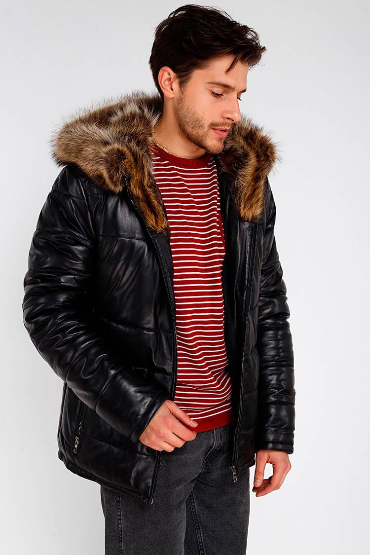 Куртка чоловіча з натуральної шкіри чорна, модель SF 8203