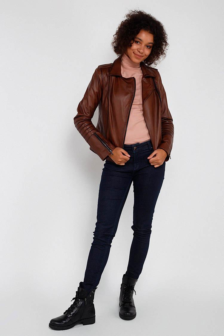 Куртка женская из натуральной кожи коричневая, модель MF-03