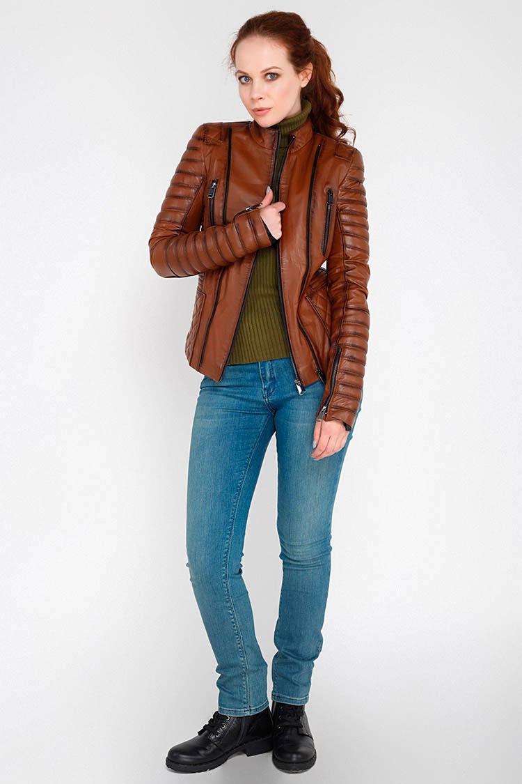 Куртка женская из натуральной кожи коричневая, модель MF-07