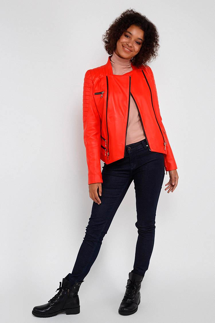 Куртка женская из натуральной кожи красная, модель MF-10