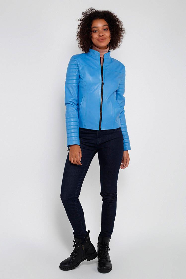 Куртка жiноча з натуральної шкіри синя, модель MF-13/1