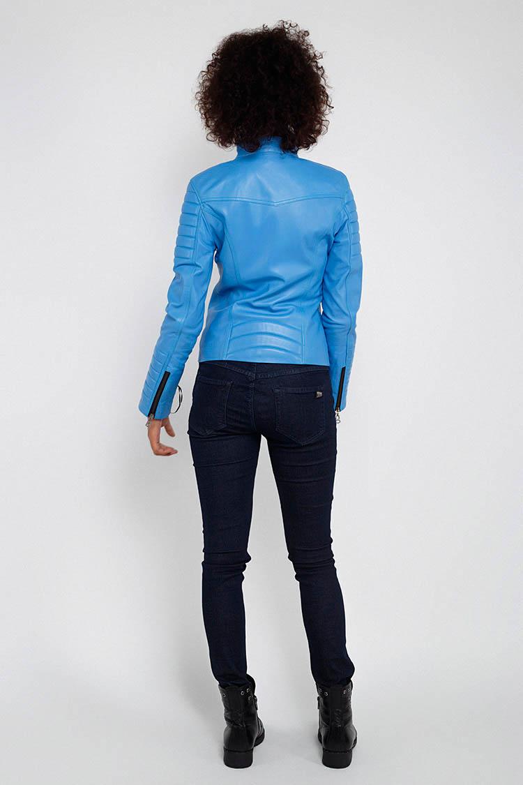 Куртка женская из натуральной кожи синяя, модель MF-13/1