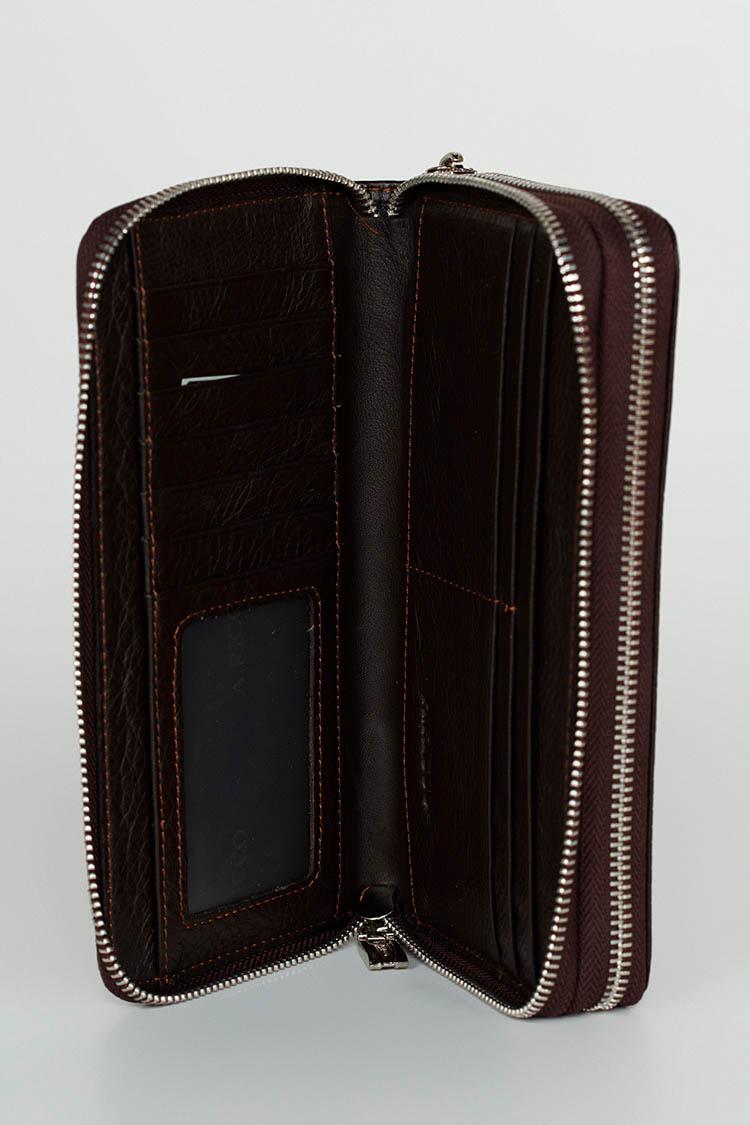 Портмоне мужское из натуральной кожи коричневое, модель 8857
