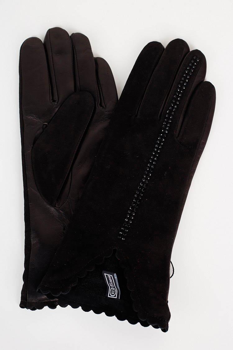 Перчатки женские из натуральной кожи черные, модель 17036
