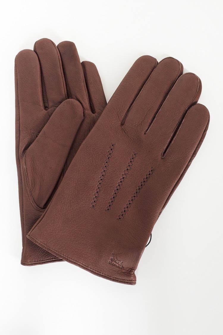 Перчатки мужские из натуральной кожи коричневые, модель 373