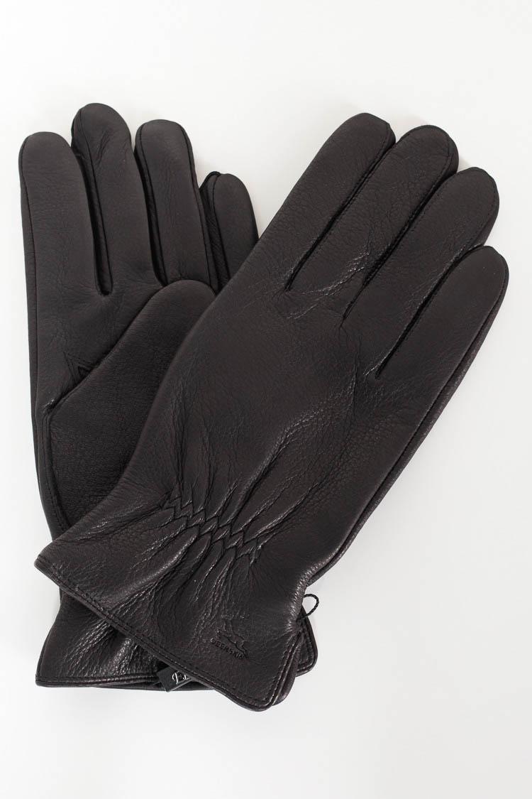 Перчатки мужские из натуральной кожи черные, модель M 375/олень