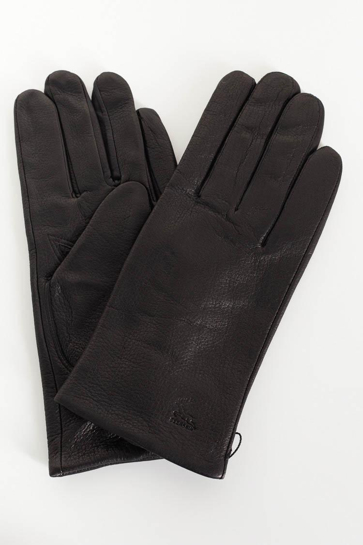 Перчатки мужские из натуральной кожи черные, модель M 801/олень