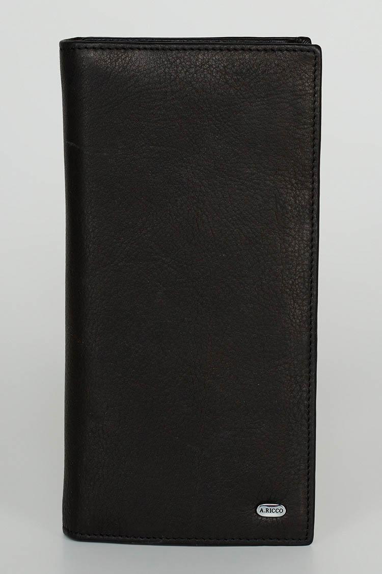 Портмоне чоловiче з натуральної шкіри чорне, модель 2023