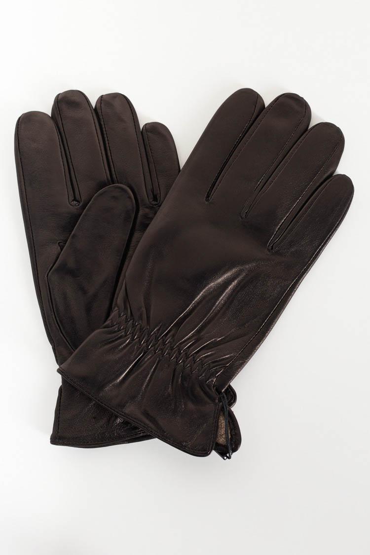 Перчатки мужские из натуральной кожи черные, модель 104