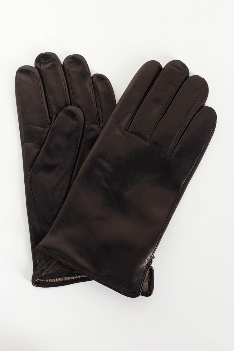 Перчатки мужские из натуральной кожи черные, модель 218
