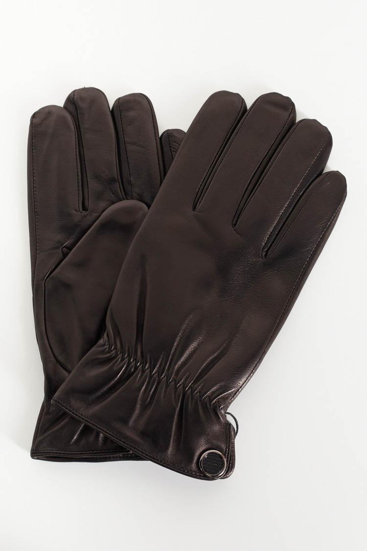 Перчатки мужские из натуральной кожи черные, модель 211