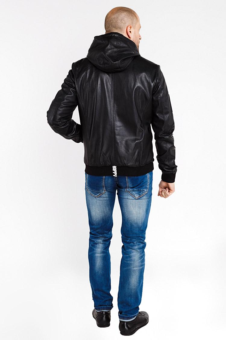Куртка чоловіча з натуральної шкіри чорна, модель 18-11MC